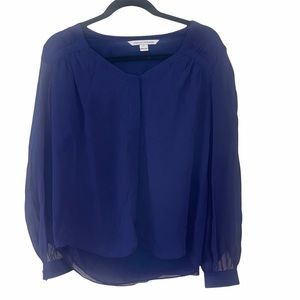 DVF Lane silk blouse long sleeve sheer blue top